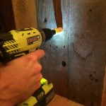 Core out the holes for the faucet shanks using a hole saw